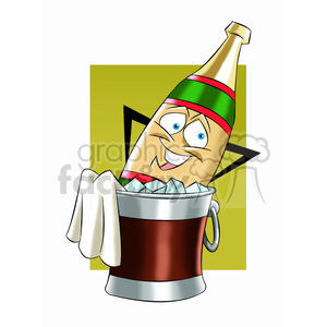 cartoon bottle of champagne chillin in a bucket of ice clipart. Royalty-free image # 397404