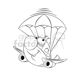 black white airplane crash landing parachute skyler clipart. Royalty-free image # 397434