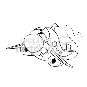 cartoon airplane flying in turbulence black and white