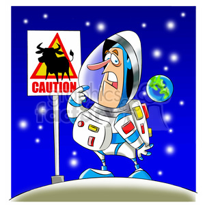 scott the astronaut cartoon character surprised by weird sign moon landing clipart. Royalty-free image # 397534