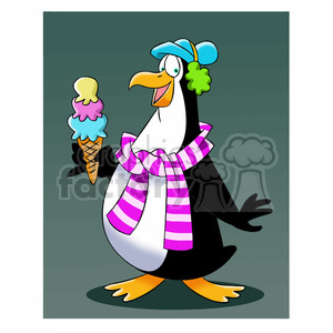 sal the cartoon penguin character eating ice cream cone clipart. Commercial use image # 397544