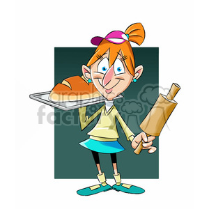 mary the cartoon character baking bread clipart. Commercial use image # 397554