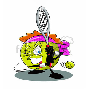 terry the tennis ball cartoon character playing tennis clipart. Commercial use image # 397604