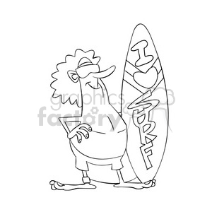 tom the cartoon surfer character i love to surf black white clipart. Commercial use image # 397624