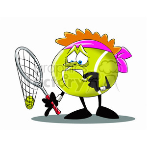 terry the tennis ball cartoon character with broken racket