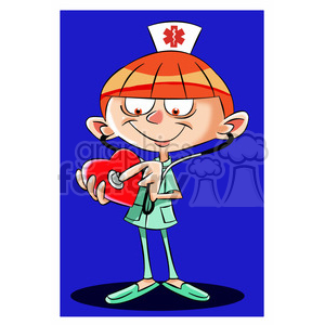 betty the cartoon nurse listening to a heart clipart. Royalty-free image # 397694