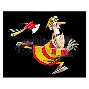 character mascot cartoon firefighter fireman rescue man guy running axe