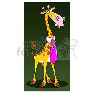 jeffery the cartoon giraffe character wearing a tie clipart. Royalty-free image # 397804