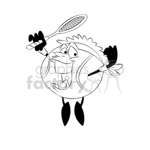 terry the tennis ball cartoon character jumping with racket black white clipart. Royalty-free image # 397894