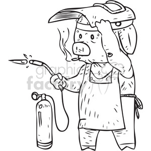 pig welder vector illustration clipart. Commercial use image # 398092