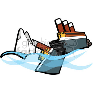 sinking ship broke in half from an iceberg clipart. Commercial use image # 398102