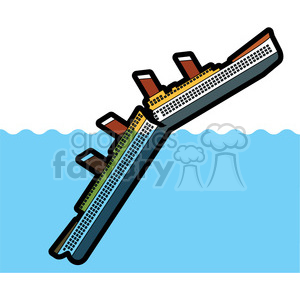 large ship sinking in the ocean clipart. Commercial use image # 398112