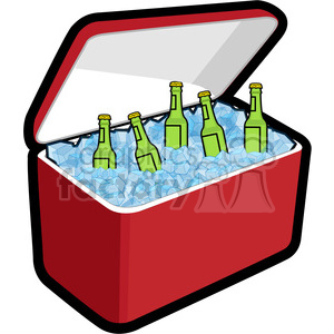 cooler loaded with ice and beer clipart. Royalty-free image # 398252