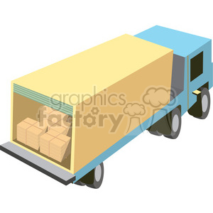 cartoon semi truck with load in the trailer clipart. Royalty-free image # 398262