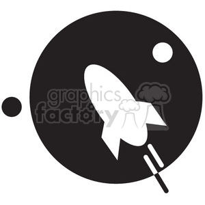 rocket flying in space vector icon clipart. Commercial use image # 398464