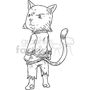 karate cat vector illustration clipart. Commercial use image # 398863