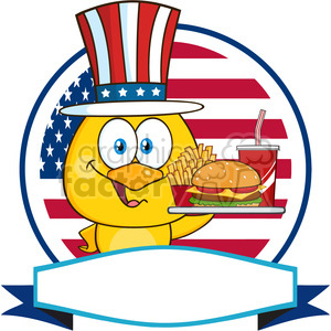chick cartoon character with patriotic hat holding a fast food tray over a circle blank label in front of flag of usa vector clipart. Royalty-free image # 398873