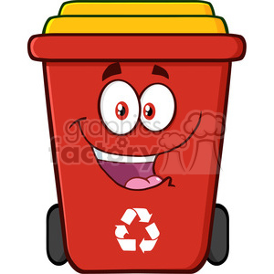 royalty free rf clipart illustration happy red recycle bin cartoon character vector illustration isolated on white background clipart. Royalty-free image # 398883