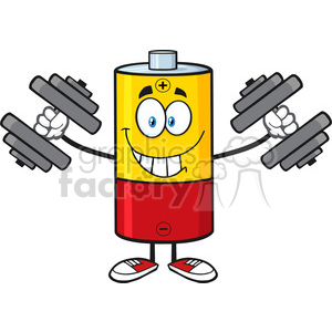 battery batteries energy power cartoon character fitness