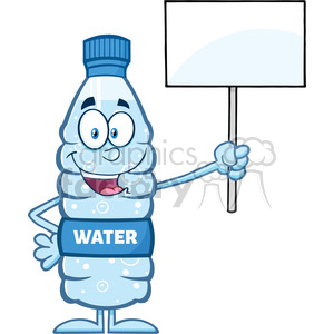 royalty free rf clipart illustration water plastic bottle cartoon mascot character holding up a blank sign vector illustration isolated on white clipart. Commercial use image # 398912