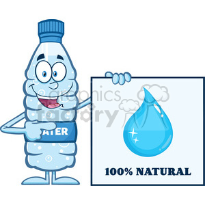 9376 royalty free rf clipart illustration water plastic bottle cartoon mascot character holding and pointing to a banner with text vector illustration isolated on white clipart. Commercial use image # 398930