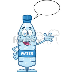 royalty free rf clipart illustration happy water plastic bottle cartoon mascot character waving with speech bubble vector illustration isolated on white clipart. Royalty-free image # 398950