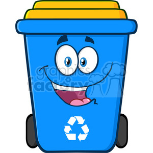 royalty free rf clipart illustration happy blue recycle bin cartoon character vector illustration isolated on white background clipart. Royalty-free image # 398960