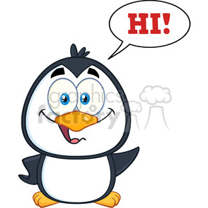 royalty free rf clipart illustration smiling cute penguin cartoon character waving with speech bubble and text vector illustration isolated on white clipart. Royalty-free image # 398978