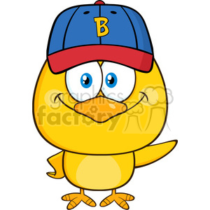 royalty free rf clipart illustration yellow chick cartoon character wearing a baseball cap and waving vector illustration isolated on white clipart. Royalty-free image # 398998