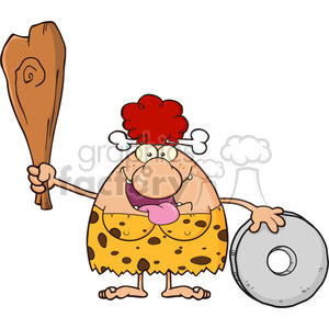 happy red hair cave woman cartoon mascot character holding a club and showing whell vector illustration clipart. Commercial use image # 399058