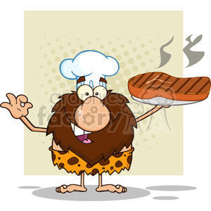 9913 chef male caveman cartoon mascot character holding up a platter with big grilled steak and gesturing ok vector illustration clipart. Royalty-free image # 399068