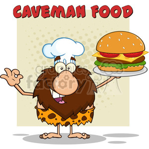 chef male caveman cartoon mascot character holding a big burger and gesturing ok vector illustration with text caveman food clipart. Royalty-free image # 399108