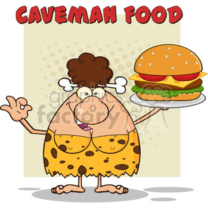 brunette cave woman cartoon mascot character holding a big burger and gesturing ok vector illustration with text caveman food clipart. Commercial use image # 399118