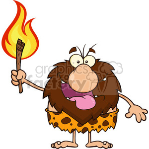 smiling male caveman cartoon mascot character holding up a fiery torch vector illustration clipart. Royalty-free image # 399178