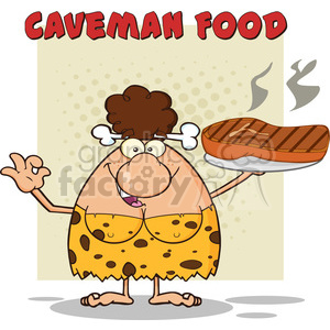 brunette cave woman cartoon mascot character holding a big steak and gesturing ok vector illustration with text caveman food clipart. Royalty-free image # 399198
