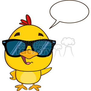 royalty free rf clipart illustration cute yellow chick cartoon character wearing sunglasses, talking and waving vector illustration isolated on white clipart. Commercial use image # 399208
