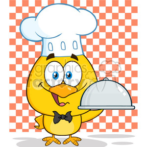 royalty free rf clipart illustration happy chef yellow chick cartoon character holding a cloche platter holding a platter over checkers vector illustration isolated on white clipart. Commercial use image # 399218