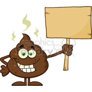 royalty free rf clipart illustration funny poop cartoon mascot character holding a blank wood sign vector illustration isolated on white clipart. Royalty-free image # 399228