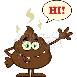 royalty free rf clipart illustration funny poop cartoon character waving for greeting with speech bubble and text hi vector illustration isolated on white backgrond clipart. Royalty-free image # 399238
