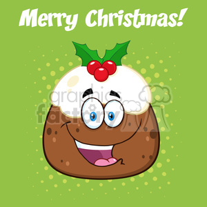 royalty free rf clipart illustration happy christmas pudding cartoon character vector illustration greeting card clipart. Royalty-free image # 399258