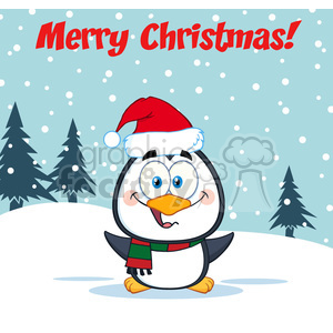 9038 royalty free rf clipart illustration merry christmas greeting with cute penguin cartoon character vector illustration greeting card clipart. Royalty-free image # 399268