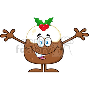 royalty free rf clipart illustration smiling christmas pudding cartoon character with open arms for greeting vector illustration isolated on white clipart. Royalty-free image # 399278