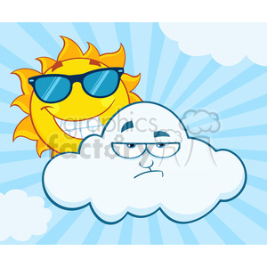 royalty free rf clipart illustration smiling summer sun with sunglasses and grumpy cloud mascot cartoon characters vector illustration with sunburst background clipart. Commercial use image # 399299