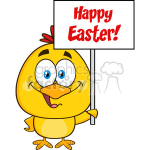 9202 royalty free rf clipart illustration smiling yellow chick cartoon character holding a happy easter sign vector illustration isolated on white clipart. Royalty-free image # 399337