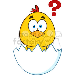 royalty free rf clipart illustration cute yellow chick cartoon character hatching from an egg with question mark vector illustration isolated on white clipart. Royalty-free image # 399347