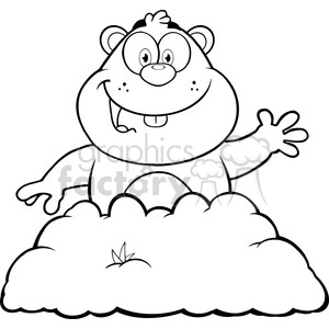 royalty free rf clipart illustration black and white happy marmmot cartoon character waving in groundhog day vector illustration isolated on white clipart. Royalty-free image # 399357
