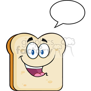 illustration cute bread slice cartoon character with speech bubble vector illustration isolated on white background clipart. Royalty-free image # 399377