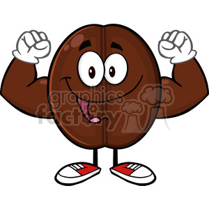 illustration happy coffee bean cartoon mascot character flexing vector illustration isolated on white clipart. Commercial use image # 399387