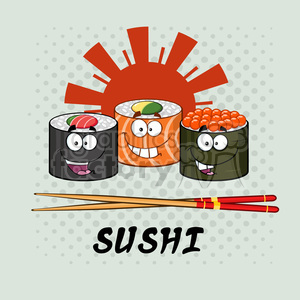 cartoon food dinner sushi asian