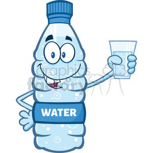 illustration cartoon ilustation of a water plastic bottle mascot character holding a water glass vector illustration isolated on white background clipart. Commercial use image # 399427